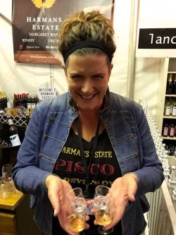 Bec from Harmans Estate with Pisco tasters