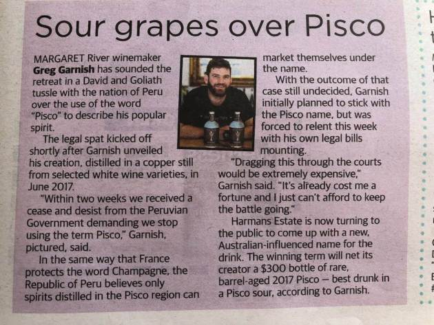 Sour Grapes Over Pisco News Article