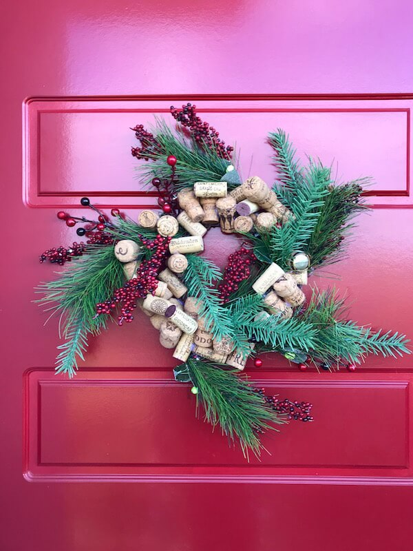Wine Cork Wreath on Red Door