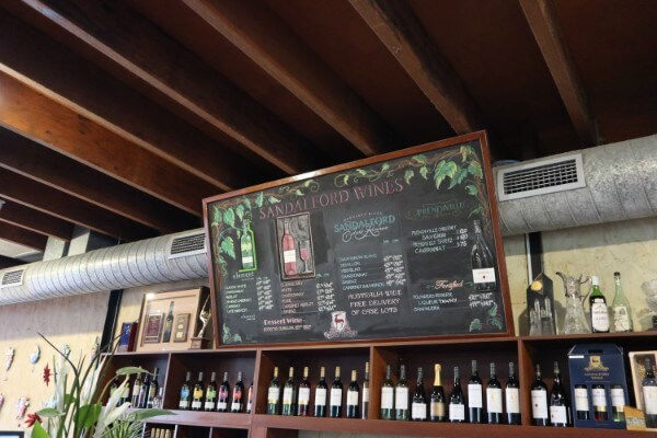 list-of-sandalford-wines-on-a-chalk-board-at-sandalford-winery-swan-valley