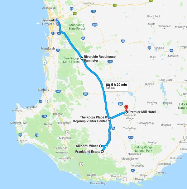 map-of-our-trip-to-riverside-raodhouse-kojonupalkoomi-winery-frankland-estate-and-premier-mill-hotel-katanning