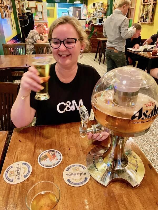 Travelling Corkscrew Drinking a Beer Tower at Palate Bar Bangkok