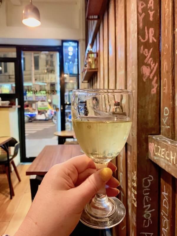 Wine glass at Mocambo Wine Bar Bangkok