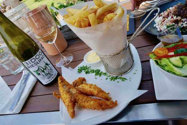 Fish and Chips at Toms Cap Vineyard Restaurant in Gippsland