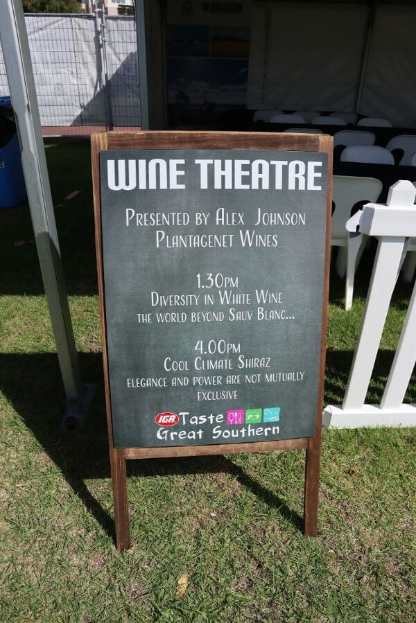 blackboard with information about the wine theatre presented by alex johnson at the albany wine and food festival