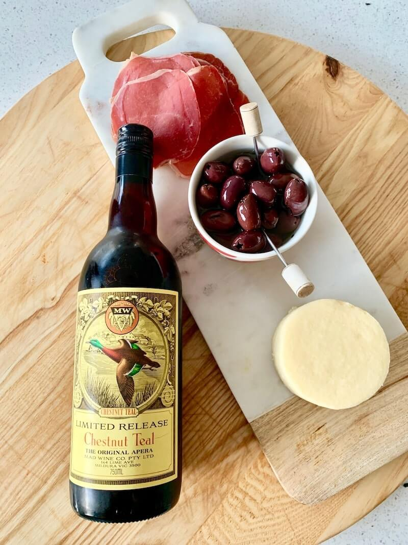 Chestnut Teal Sherry and Cheeseboard