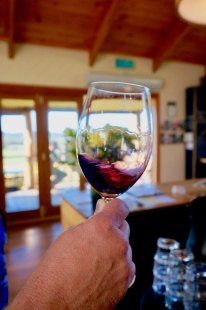 Swirling red wine at Moores Hill Tasmania