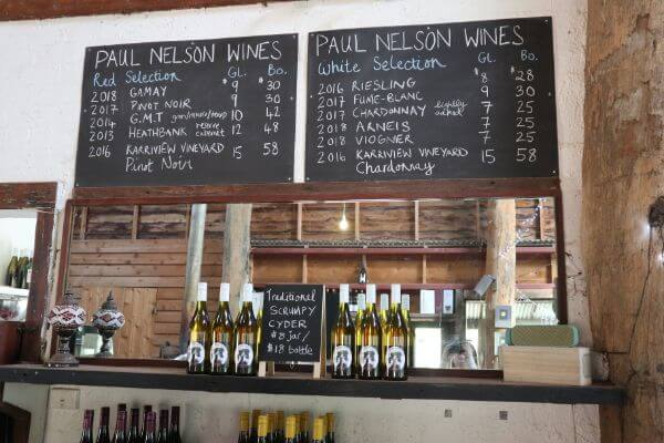 paul nelson wine signage of wines available and cyder at paul nelson vineyard on scotsdale road denmark wine region