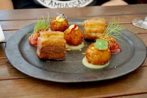 Pork Belly at Frogmore Creek Vineyard restaurant - Tasmania
