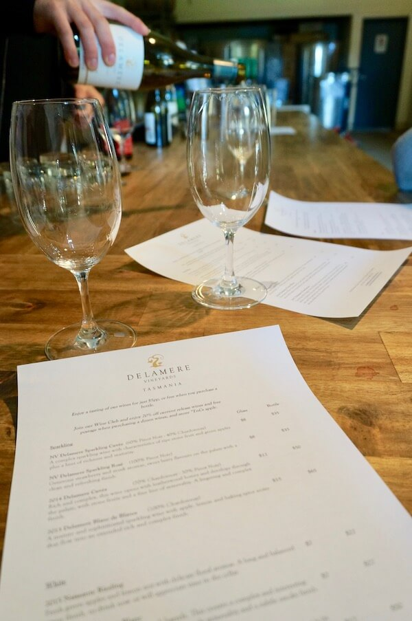 Wine tasting at the Delamere cellar door in Tasmania's Tamar Valley
