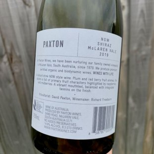 Paxton NOW 2019 Shiraz – McLaren Vale - Back Label