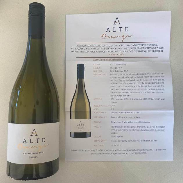 Cumulus Vineyards ALTE 2019 Chardonnay