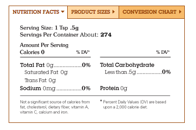 Monk fruit in the raw nutrition facts