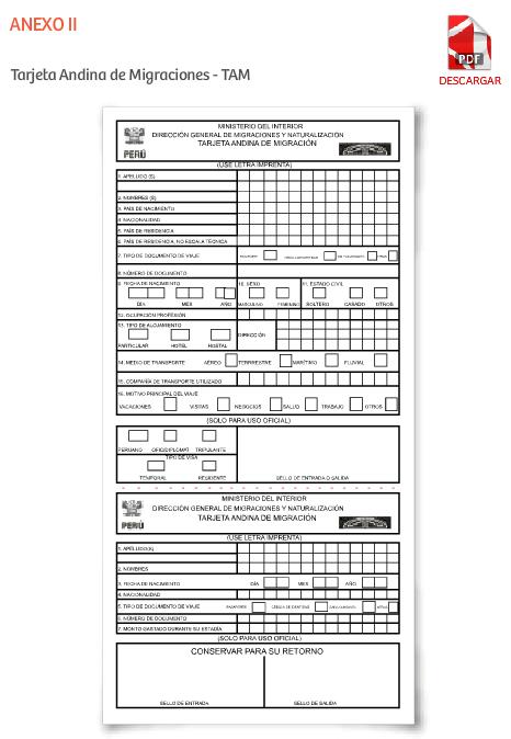 formularios tarjeta andina migraciones