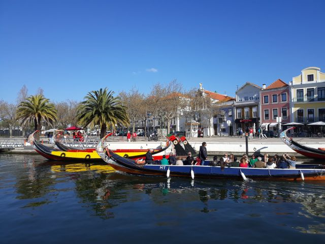 The colourfully painted boats of Aveiro in Portugal