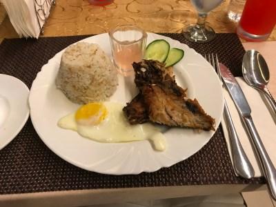 Daing na Bangus with egg and garlic rice