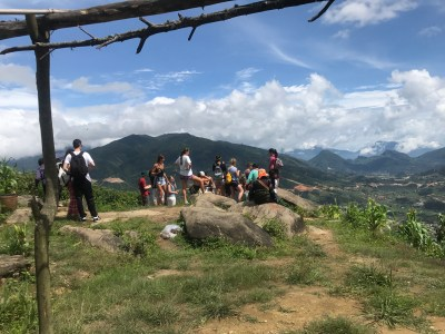 Our group enjoying the view of Sa Pa from the mountains