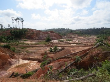 the pit has been largely disturbed by small scale miners