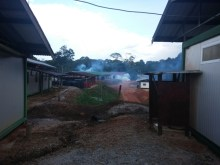 Mosquito fogging in camp