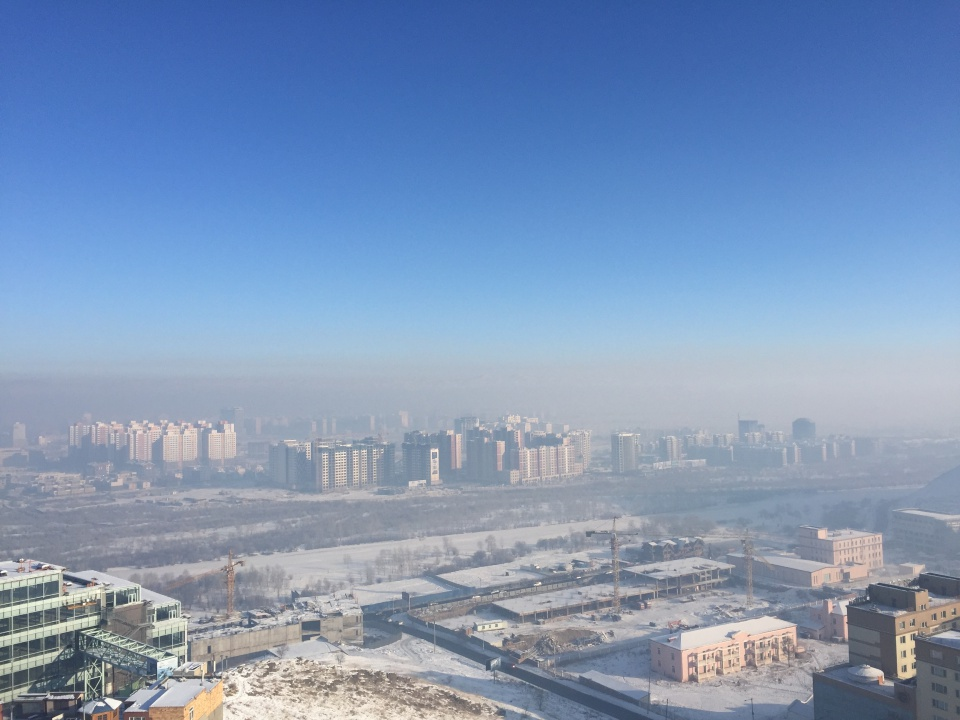 The pollution is the yellow haze over UB