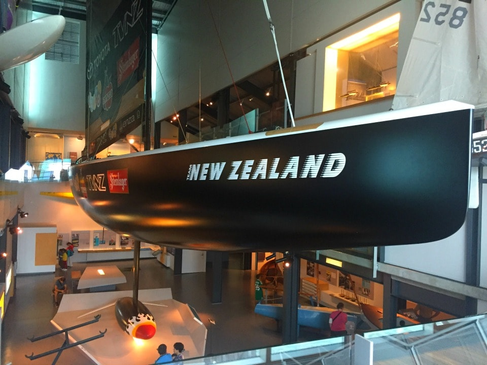 Full size competition yachts at New Zealand maritime museum