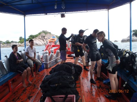 Scuba school aboard the Master Divers boat.
