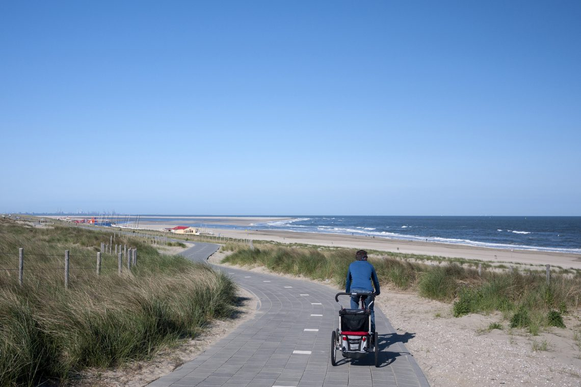 Big skies and beaches on the LF1 route along the Dutch coastline.