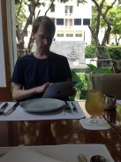 Selecting my lunch on the iPad at the Celadon in The Sukhothai