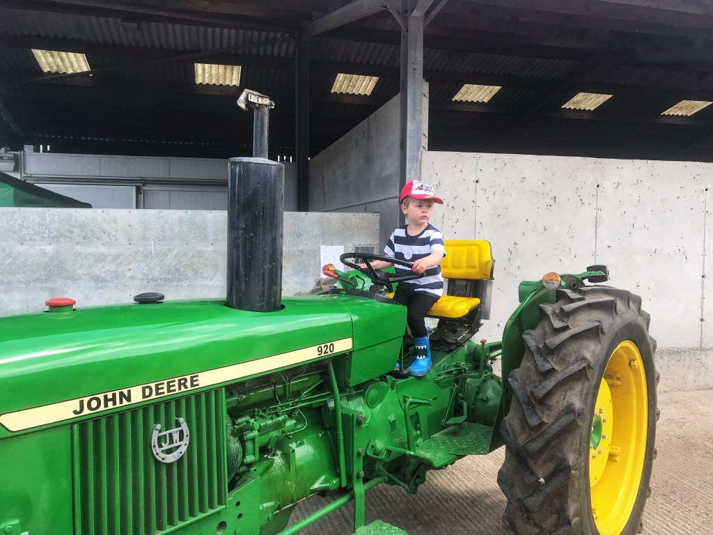 Dexter sat on a green John Deere at taylor's Farm during leaf Open Sunday
