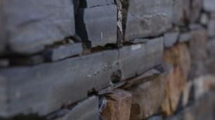 Detail of black slate wall