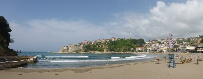 Ulcinj city beach and the old town up on the hill.