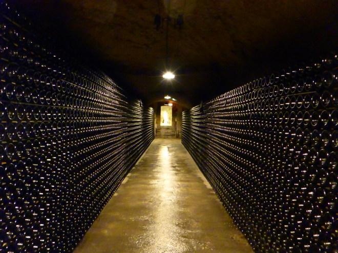 Maaaaaaany bottles in Möet&Chandon Champagne cellar.