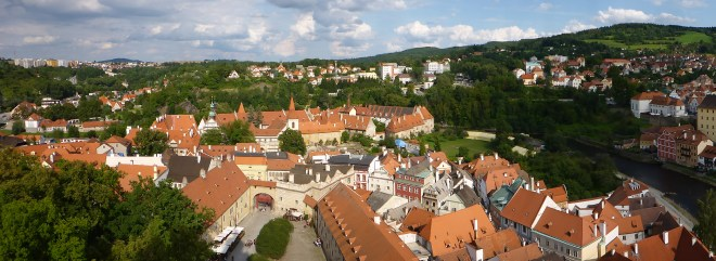 Tower view of Cesky Krumlov.