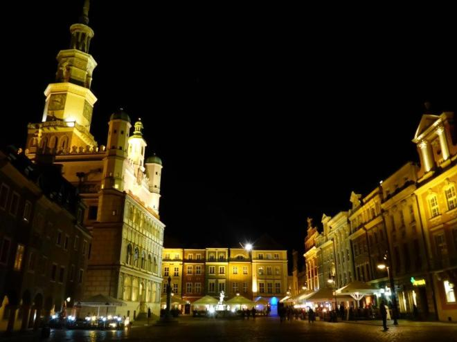 Poznan Old Market Square by night