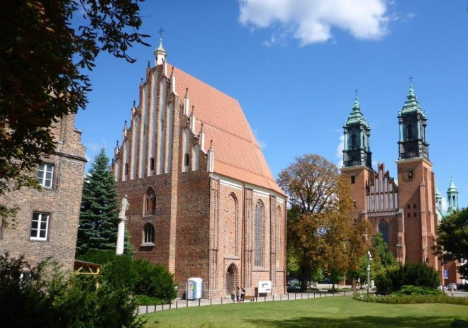 The Cathedral and the gothic Holy Virgin Mary Church on Cathedral Island in Poznan