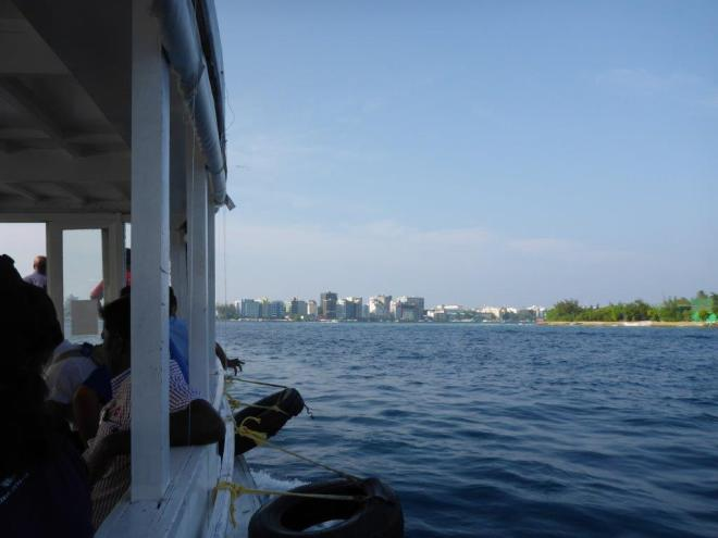 On the boat from Male airport to the city