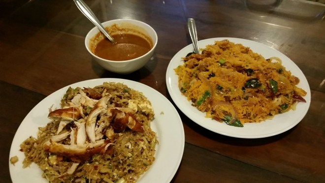 Chicken and cheese kottu and string hopper biriyani at Pilawoos.