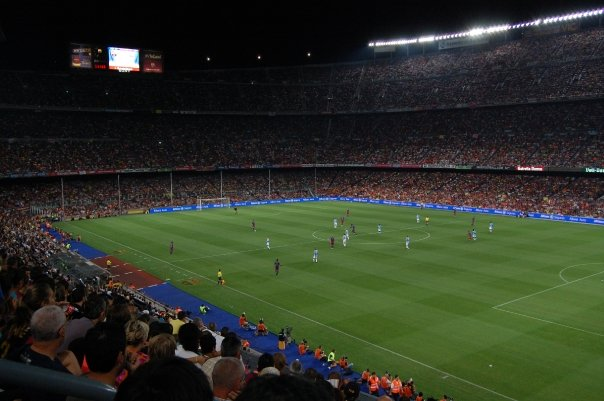 FC Barcelona playing a football match at Camp Nou in Barcelona