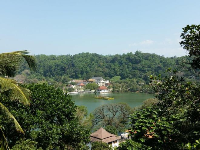 Overlooking the lake and Temple of The Tooth in Kandy.