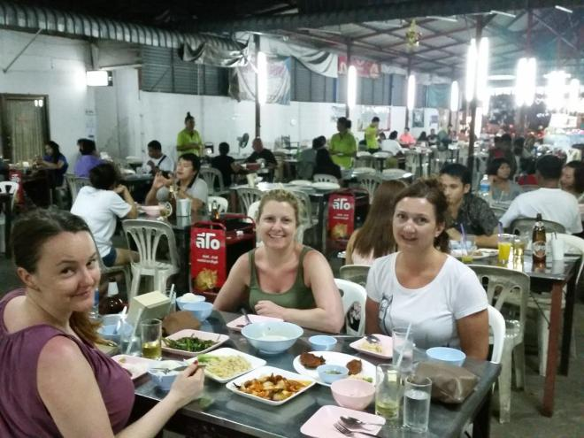 Enjoying a tasty meal at I.M.F restaurant