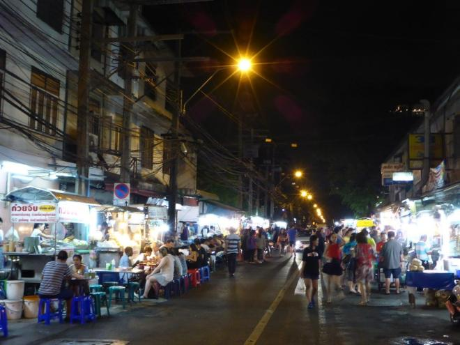A street with street food in Bangkok
