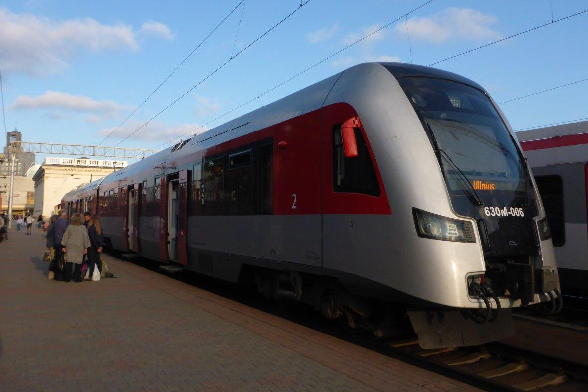 The train from the train station in Minsk to Vilnius