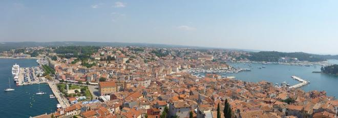 Panorama view from Saint Euphemia Cathedral in Rovinj, Croatia