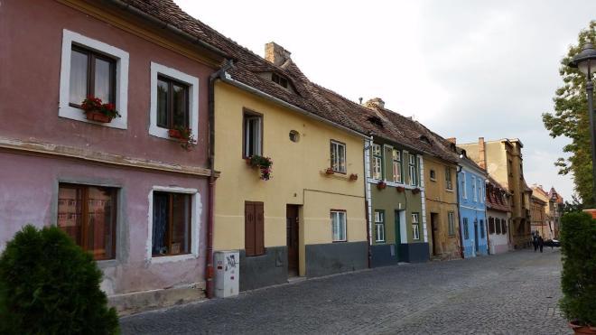 Colourful street in Sibiu, Romania