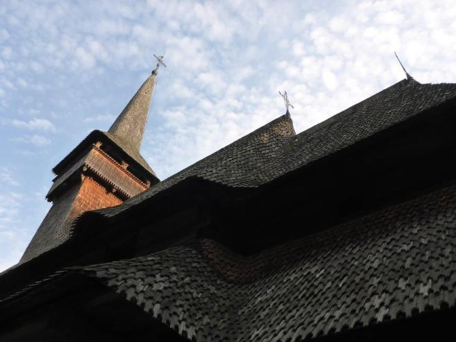 The wooden roof of Poienile Izei, one of The wooden Churches of Maramureş, Romania on the UNESCO World Heritage list