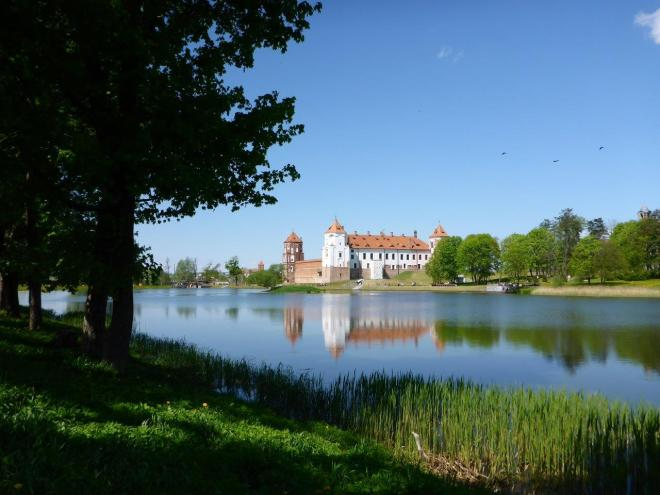 Reflection of Mir castle in Belarus