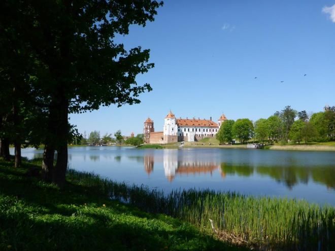 Reflection of Mir castle in Belarus