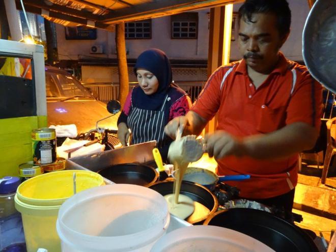 Pancakes in the making! Food tour in Kuala Lumpur, Malaysia