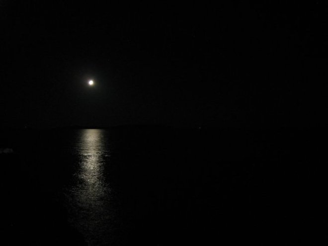 The moon and nothing else around. Kornati islands, Croatia
