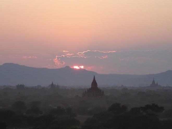 Sunset by Pyathada pagoda. Bagan, Myanmar